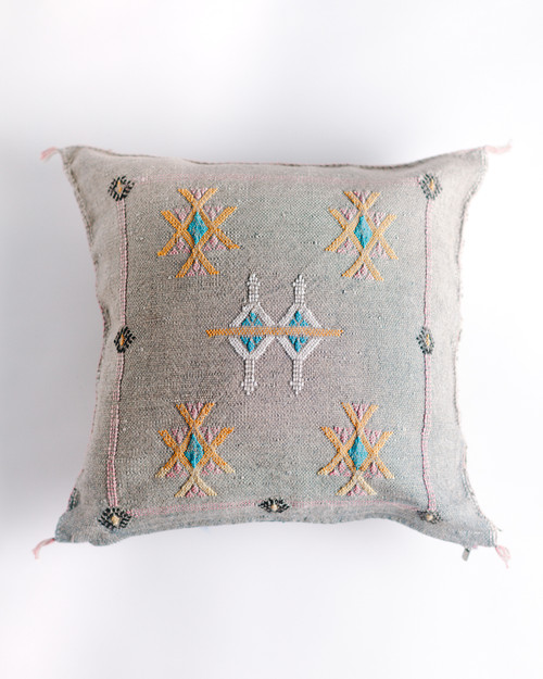 Cactus Silk Cushion - Grey                               FREE SHIPPING
