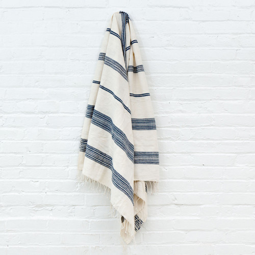 Aden Towel+Wrap - Natural with Navy -              Free Shipping!