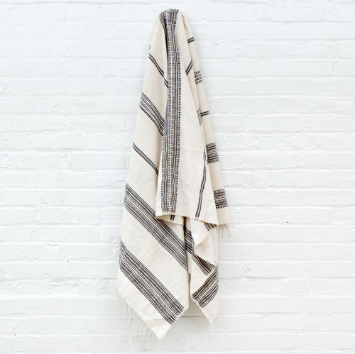 Aden Towel+Wrap - Natural with Grey-       Free Shipping!
