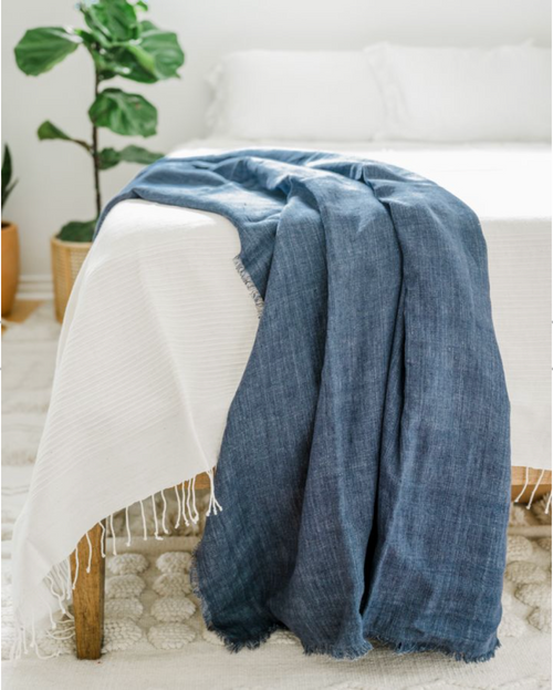 Linen Throw -  Stone Washed Navy                        - Shipping Included