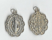 Small Saint Benedict Medal with Unique Antique Scrollwork