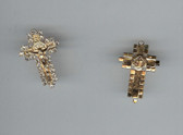 GOLD PLATED Saint Benedict Crucifix with 27 sparkling rhinestone diamonds