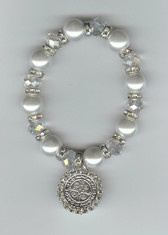 "Saint Benedict 7"" BRACELET With Swarovski Crystals (FAUX PEARLS FROM TAHITI)"