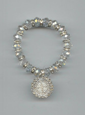 "Saint Benedict 7"" BRACELET With Swarovski Crystals (CLEAR)"