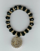 "Saint Benedict 7"" BRACELET With Swarovski Crystals (BLACK)"