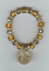 "Saint Benedict 7"" BRACELET With Swarovski Crystals (AMBER)"
