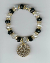 "Saint Benedict 7"" BRACELET With Swarovski Crystals (BLACK & CLEAR)"