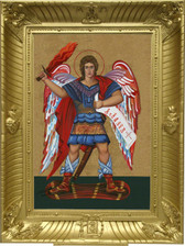 "The Most Exquisite, Museum Quality, Fine Art Giclée Icon of The Very Protecting ""SAINT MICHAEL THE ARCHANGEL""© on the finest canvas!  18x24 frame."