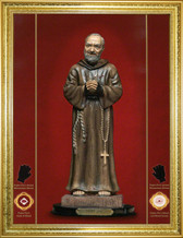 "Canvas Texture Glittering ""Gold Leaf"" Padre Pio 16 x 20 INCH FRAME WITH RECESSED TWO TONE GOLD MARBLING WITH BEADING ON THE INNER EDGE FOR $149.95 FOR THE FRAME AND ICON"