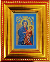 "2.5"" X 3.5"" with frame Glittering ""Gold Leaf"" Art Museum Quality, Fine Art Giclée of The Miraculous Icon® on Canvas texture - blessed and touched to 75 Sacred First Class Relics!"