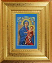 "2.5"" X 3.5"" with Traditional Frame Glittering ""Gold Leaf"" Art Museum Quality, Fine Art Giclée of The Miraculous Icon® on Canvas texture - blessed and touched to 75 Sacred First Class Relics!"