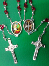 Saint Benedict Rosary (Red)