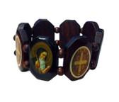 Mahogony Tone Wooden Bead St. Benedict Bracelet Octogonal