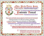 Translated Copy of the Actual Annual Holy Land Mass Certificate from the Fransiscans for the Holy Land Masses
