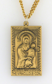 Our Lady Mediatrix® Two-Sided, Antique Goldtone, All Protecting Icon Medal AT A GREAT DISCOUNT