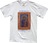 """ICON T-SHIRT"" blessed at the altar at Mass with Holy Water and Blessed Incense and touched to 75 Sacred First Class Relics and to The Miraculous Icon® AT A GREAT DISCOUNT with FREE SHIPPING!"