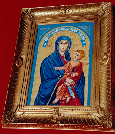 "This magnificent 8 1/2 inch wide, 5 inches thick (hollowed out so that the ""Rays and Waves of Graces"" are embracing you) , 40 inch by 52 inch gold tone picture frame."