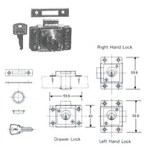 CYLINDER CABINET LOCK RIM LEFT HAND A-22MM OHS#5351-3