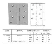 BUTT HINGE FOR CABIN DOOR BRASS L90XW54MM