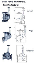 STORM VALVE HORIZONTAL TYPE WITH HANDLE SV-FCD-H-RMH-50