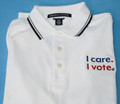 I Care. I Vote. white polo shirt folded