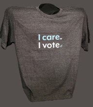 I care I vote, heathered charcoal t-shirt with white and blue image