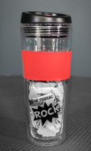 "Clear and red tumbler with black ""Texas Public Schools Rock!"" text"