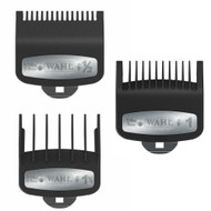 3 PCS Wahl Premium Clipper Cutting Guides Guards Metal Clip Set #1/2, #1, & #1 1/2