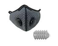 Dust Sports Face Cover Windproof Breathable Design for Running Cycling Mowing Outdoor Activities Grey Color Plus 6 Filters