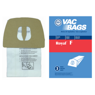 DVC Paper Replacement Bags Type F Fit Royal Dirt Devil Canisters CanVack / Power Pak, 3 Bags