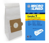 DVC Micro-Lined Paper Replacement Bags Style T Fit Eureka 970 and 980 Canister Models - 3 Bags