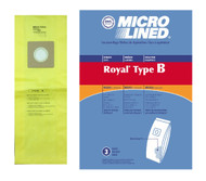 DVC Micro-Lined Paper Replacement Bags Type B Fit Royal Upright and Metal Vacuums - 3 Bags