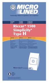 DVC Micro-Lined Paper Replacement Bags Style H Fits Riccar 1500 Canister, 6 Bags