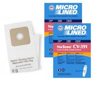 DVC Micro-Lined Paper Replacement Bags Standard Nutone 391 Fit CV350, CV352, CV352W, CV353, CV450, CV653, CV750 - 6 Bags