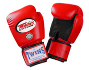 Twins Special Muay Thai Boxing Gloves - Dual Color - Premium Leather w/ Velcro - Red/Black