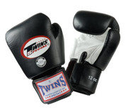 Twins Special Muay Thai Boxing Gloves - Dual Color - Premium Leather w/ Velcro - Black/White