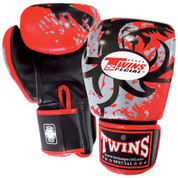 Twins Special Tribal Dragon Boxing Gloves Premium Leather w/ Velcro - Red