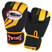 Twins Special Fighting Spirit Boxing Gloves- Premium Leather- Black Yellow