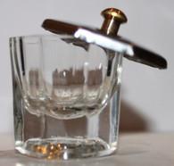 Glass Liquid Dish Hexagon w/metal Lid
