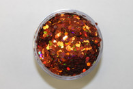 Starlight Nail Art Glitter - 7 Orange Hexagons (2 oz.)