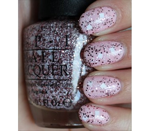 OPI Let\'s Do Anything We Want M77 Nail Polish Clear Pink Glitter Muppets