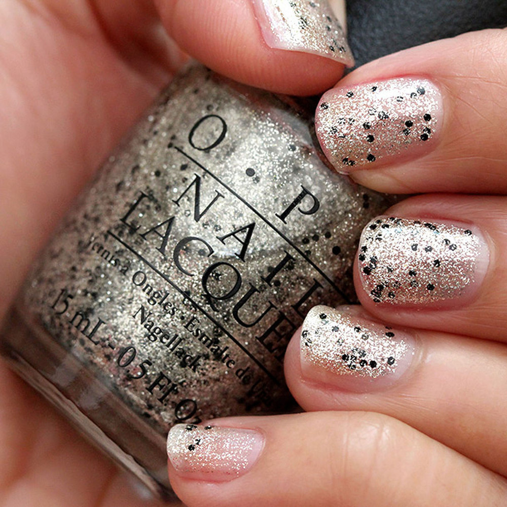 OPI Wonderous Star E12 Nail Polish Silver Gold Black Polka Dots ...