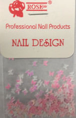 Starlight Nail Art - Pink White Mix Butterflies (foil)