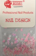 Starlight Nail Art - Pink White Mix Butterflies (foil)