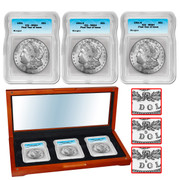 1921 Morgan Silver Dollar Mint Mark Set (P,D & S ) - MS64