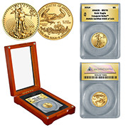 2014 1/10th oz Gold Eagle in Wood Box - Inaugural Strike