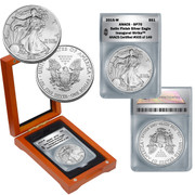 2015 Burnished Silver Eagle SP70 in Wood Box