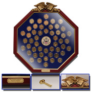 Complete State Quarter Set 24k Gold plated in a stunning Wood Octagonal Display Frame