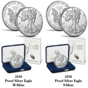2018 Silver American Proof Eagle 2 Coin Set (W and S Mint Mark)