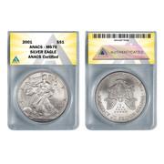 ANACS 2019 SP69 JFK Half and PR70 Native American Dollar Rocketship Coins